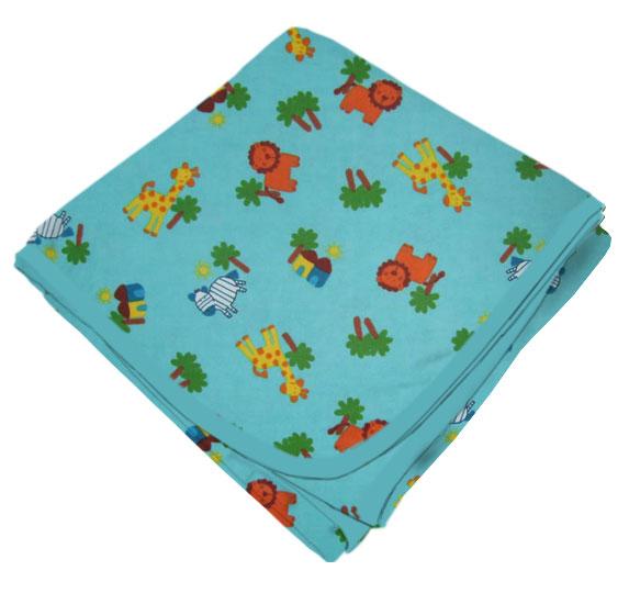 "SheetWorld SheetWorld Flannel Receiving Blanket 22"" x 36"" - Safari Animals Aqua - Made In USA"