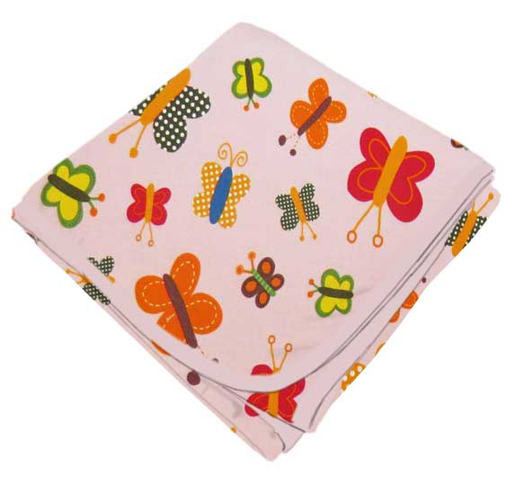 "SheetWorld Flannel Receiving Blanket 30"" x 45"" - Bright Butterflies Pink - Made In USA"