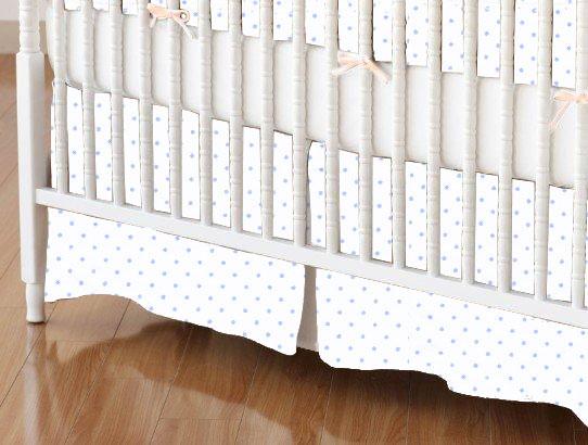 Mini Crib Skirts – Mini Crib Skirt – Blue Pindot Jersey Knit – Tailored