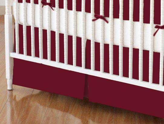 Mini Crib Skirts – Mini Crib Skirt – Burgundy Jersey Knit – Tailored