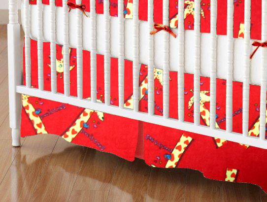 Mini Crib Skirts - Mini Crib Skirt - Giraffes Red - Tailored