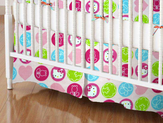 Mini Crib Skirts - Mini Crib Skirt - Hello Kitty Circles - Tailored