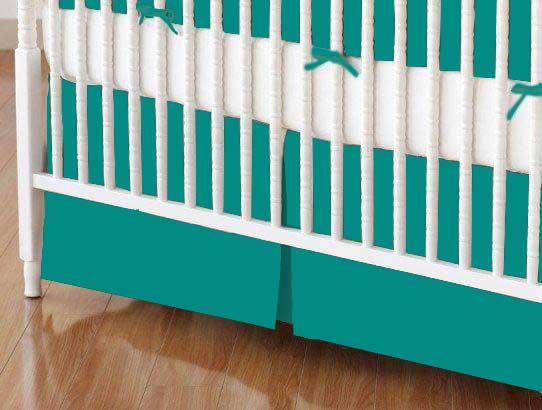 Crib Skirts - Crib Skirt - Teal Jersey Knit - Tailored