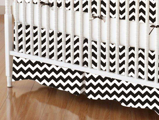 Mini Crib Skirts - Mini Crib Skirt - Black Chevron Zigzag - Tailored