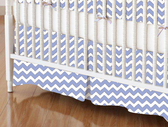 Mini Crib Skirts – Mini Crib Skirt – Baby Blue Chevron Zigzag – Tailored