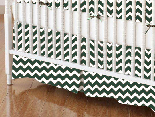 Mini Crib Skirts – Mini Crib Skirt – Hunter Green Chevron Zigzag – Tailored