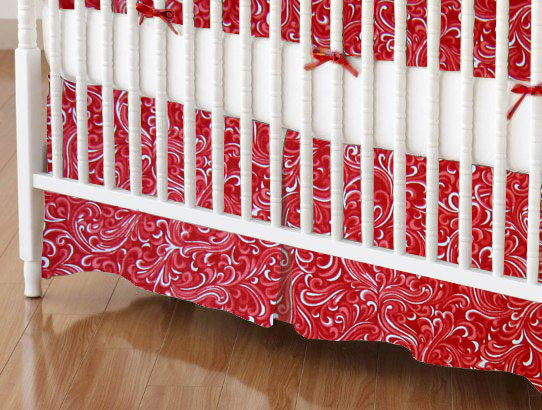 Mini Crib Skirts - Mini Crib Skirt - Red Breeze - Tailored