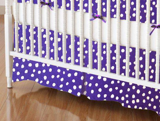 Mini Crib Skirts – Mini Crib Skirt – Purple Fun Dots – Tailored