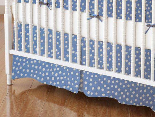 Crib Skirts - Crib Skirt - Baby Blue Fun Dots - Tailored