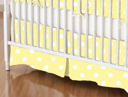mini crib skirt pastel yellow polka dots woven