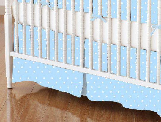 Crib Skirts – Crib Skirt – Pastel Blue Pindots Woven – Tailored