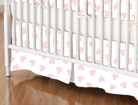 Crib Skirts – Crib Skirt – Pastel Pink Hearts Woven – Tailored
