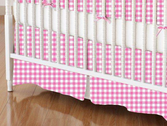 baby bedding - Crib Skirts - Crib Skirt - Primary Pink Gingham Woven - Tailored - Crib Skirts