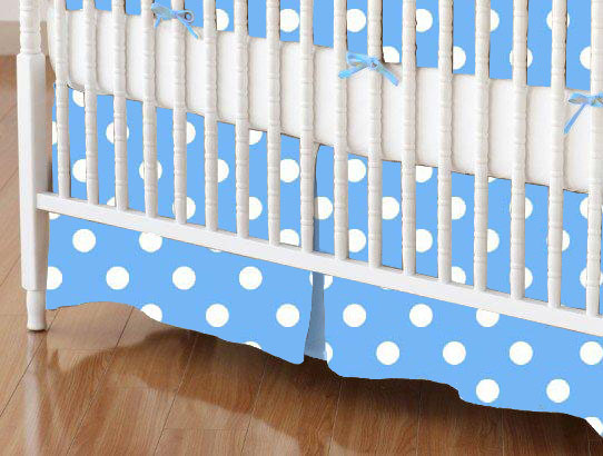 Mini Crib Skirts - Mini Crib Skirt - Primary Polka Dots Blue Woven - Tailored
