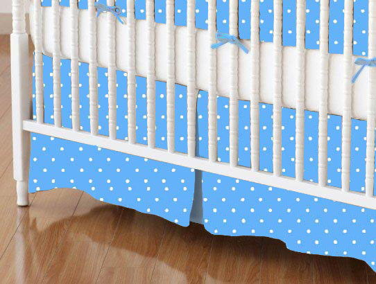 Mini Crib Skirts – Mini Crib Skirt – Primary Pindots Blue Woven – Tailored