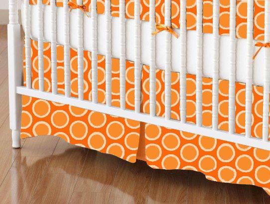 Mini Crib Skirts – Mini Crib Skirt – Primary Bubbles Orange Woven – Tailored