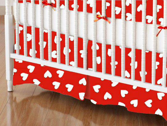 Mini Crib Skirts – Mini Crib Skirt – Primary Hearts White On Red Woven – Tailored