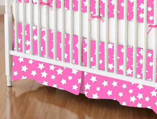 Mini Crib Skirts - Mini Crib Skirt - Primary Stars White On Pink Woven - Tailored