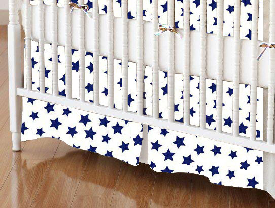 Mini Crib Skirts – Mini Crib Skirt – Primary Stars Navy On White Woven – Tailored