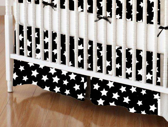 Crib Skirts - Crib Skirt - Primary Stars White On Black Woven - Tailored