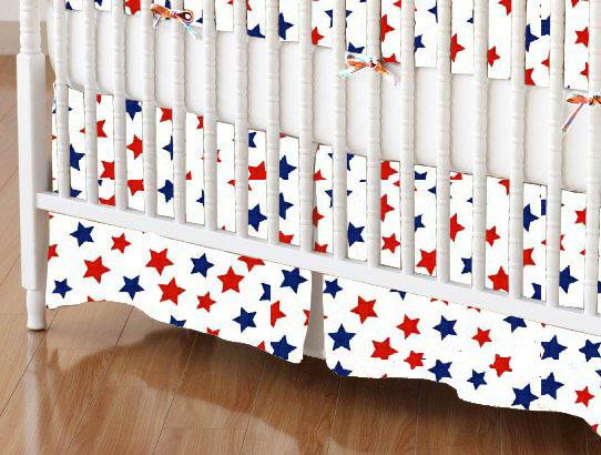 Mini Crib Skirts - Mini Crib Skirt - Primary Patriotic Stars On White Woven - Tailored