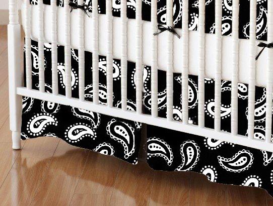 Crib Skirts - Crib Skirt - Primary Paisley White On Black Woven - Tailored