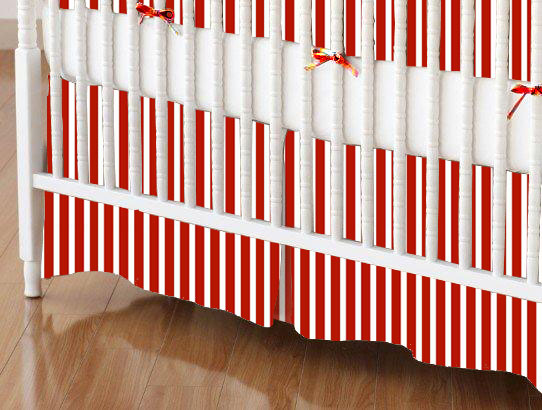 Crib Skirts – Crib Skirt – Primary Red Stripe Woven – Tailored