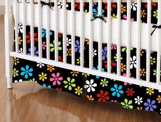 Crib Skirts – Crib Skirt – Primary Colorful On Black Floral Woven – Tailored