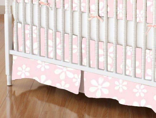 Crib Skirts - Crib Skirt - Pastel Pink Floral Woven - Tailored