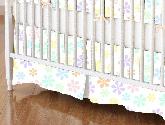 Mini Crib Skirts – Mini Crib Skirt – Pastel Colorful Floral Woven – Tailored