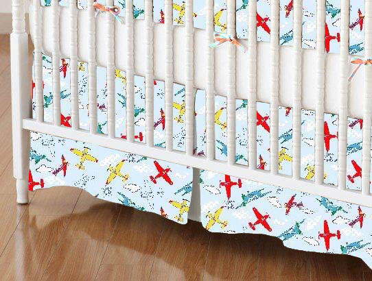 Crib Skirts - Crib Skirt - Kiddie Airplanes - Tailored