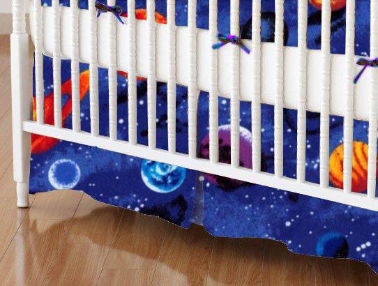 Mini Crib Skirts – Mini Crib Skirt – Planets – Tailored