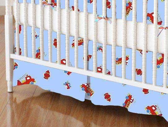 Crib Skirts – Crib Skirt – Fire Engines Blue – Tailored