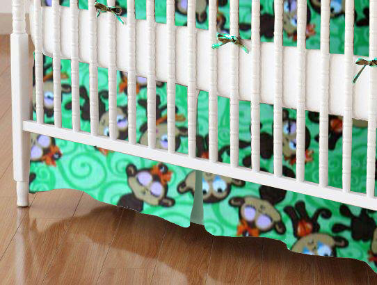 Mini Crib Skirts - Mini Crib Skirt - Monkeys Green - Tailored
