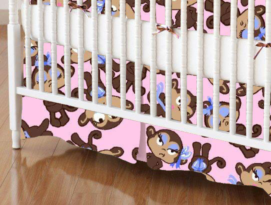 Mini Crib Skirts – Mini Crib Skirt – Monkeys Pink – Tailored
