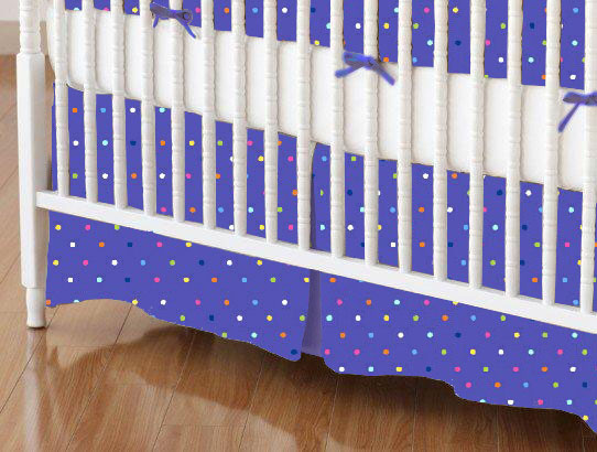 baby bedding - Mini Crib Skirts - Mini Crib Skirt - Primary Colorful Pindots Purple Woven - Tailored - Mini Crib Skirts