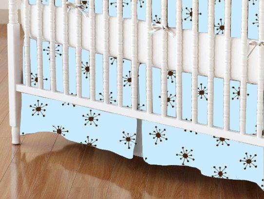 baby bedding - Mini Crib Skirts - Mini Crib Skirt - Brown Snowflake Blue Woven - Tailored - Mini Crib Skirts