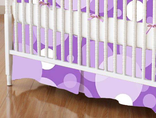 Crib Skirts - Crib Skirt - Purple Floating Bubbles - Tailored