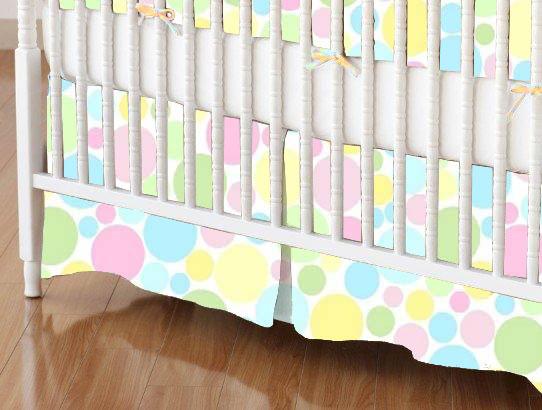 Crib Skirts - Crib Skirt - Pastel Colorful Mini Dots - Tailored