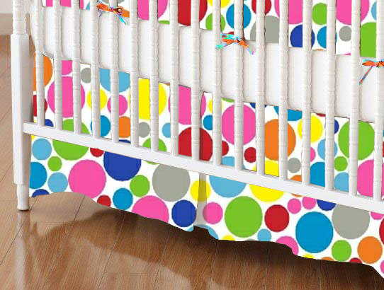 Crib Skirts – Crib Skirt – Primary Colorful Mini Dots – Tailored