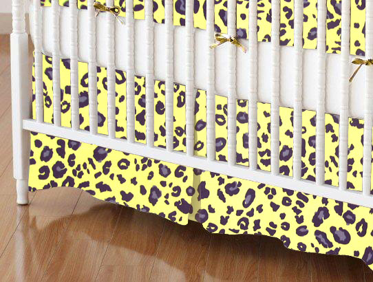 Crib Skirts - Crib Skirt - Yellow Leopard - Tailored