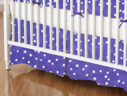 SheetWorld - Crib Skirt (28 x 52) - Cloudy Stars Purple - Made In USA at Sears.com