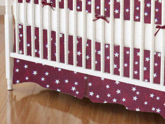 Mini Crib Skirts - Mini Crib Skirt - Cloudy Stars Burgundy - Tailored