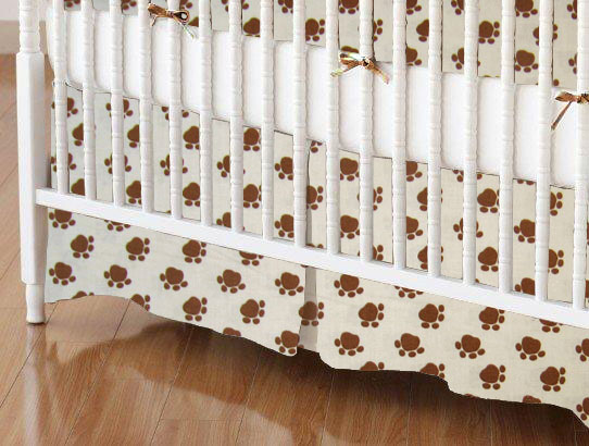Crib Skirts – Crib Skirt – Brown Dog Paws – Tailored