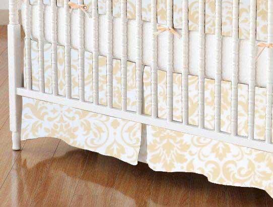 Cream Damask Portable Mini Crib Sheets Sheetworld