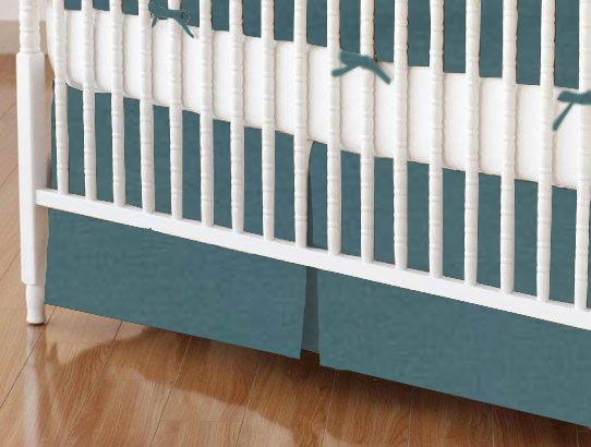 Crib Skirts - Crib Skirt - Solid Teal Woven - Tailored