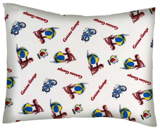 Percale Pillow Case Curious George Beach Balls Twin