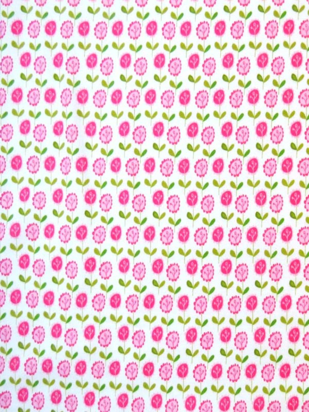 SheetWorld Round Crib Sheets - Pink Flower Stems - Made In USA