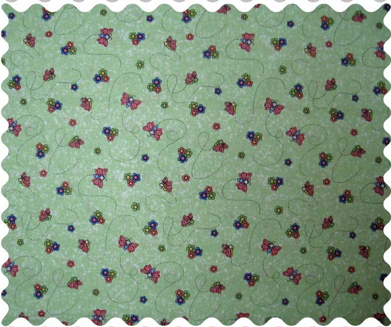 Fabric Shop – Green Butterfly Daisy Fabric – Yard