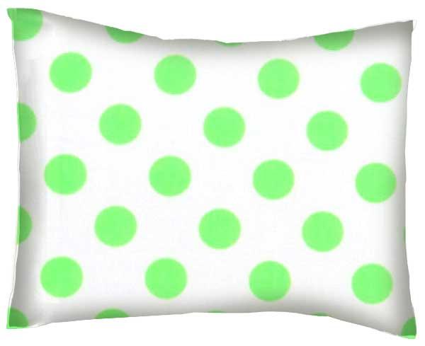 Baby Pillow Case Neon Green Polka Dots
